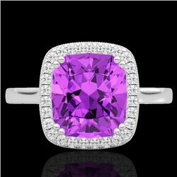 2.75 CTW Amethyst & Micro Pave VS/SI Diamond Halo Solitaire Ring 18K White Gold - REF-50M4F - 22835