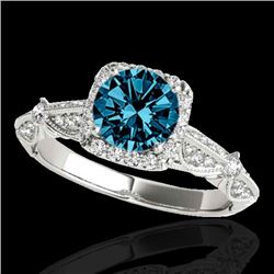 1.36 CTW SI Certified Fancy Blue Diamond Solitaire Halo Ring 10K White Gold - REF-161W8H - 33756
