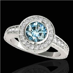1.50 CTW SI Certified Fancy Blue Diamond Solitaire Halo Ring 10K White Gold - REF-170M9F - 33896