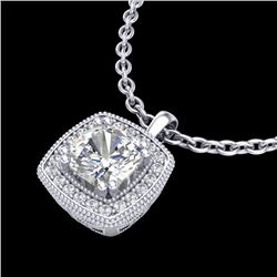 1.25 CTW Cushion VS/SI Diamond Solitaire Art Deco Necklace 18K White Gold - REF-315R2K - 37037