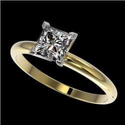 1 CTW Certified VS/SI Quality Princess Diamond Engagement Ring 10K Yellow Gold - REF-297H2M - 32899