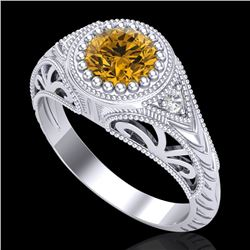 1.07 CTW Intense Fancy Yellow Diamond Engagement Art Deco Ring 18K White Gold - REF-200V2Y - 37476