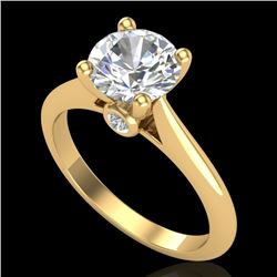 1.60 CTW VS/SI Diamond Art Deco Ring 18K Yellow Gold - REF-555K2W - 37294