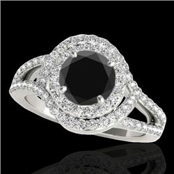 1.90 CTW Certified VS Black Diamond Solitaire Halo Ring 10K White Gold - REF-98W7H - 34390