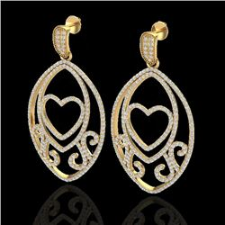 3.20 CTW Micro Pave VS/SI Diamond Designer Heart Earrings 18K Yellow Gold - REF-252H2M - 22586