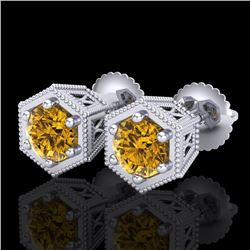 1.15 CTW Intense Fancy Yellow Diamond Art Deco Stud Earrings 18K White Gold - REF-138N2A - 38043