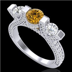 2.3 CTW Intense Fancy Yellow Diamond Micro Pave 3 Stone Ring 18K White Gold - REF-236N4A - 37644