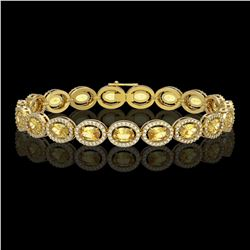 12.73 CTW Fancy Citrine & Diamond Bracelet Yellow Gold 10K Yellow Gold - REF-226N9A - 40888
