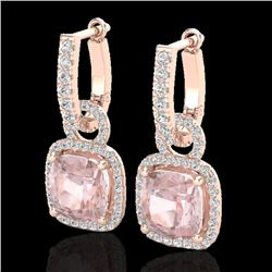 5.50 CTW Morganite & Micro Pave VS/SI Diamond Halo Earrings 14K Rose Gold - REF-152V7Y - 22967