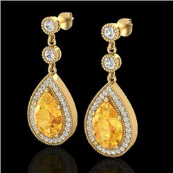 4.50 CTW Citrine & Micro VS/SI Diamond Certified Earrings Designer 18K Yellow Gold - REF-67X5R - 231