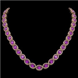 45.16 CTW Amethyst & Diamond Necklace Rose Gold 10K Rose Gold - REF-560H2M - 40986