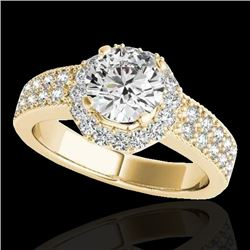 1.40 CTW H-SI/I Certified Diamond Solitaire Halo Ring 10K Yellow Gold - REF-172K5W - 34551