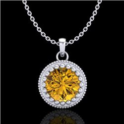 1 CTW Intense Fancy Yellow Diamond Solitaire Art Deco Necklace 18K White Gold - REF-158W2H - 37490