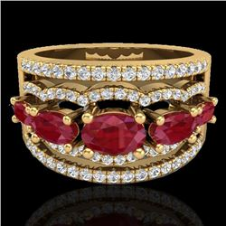 2.25 CTW Ruby & Micro Pave VS/SI Diamond Certified Designer Ring 10K Yellow Gold - REF-71W3H - 20803