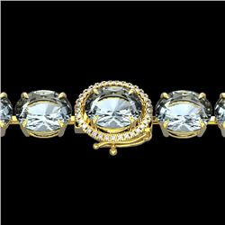60 CTW Aquamarine & Micro VS/SI Diamond Halo Designer Bracelet 14K Yellow Gold - REF-616H7M - 22253