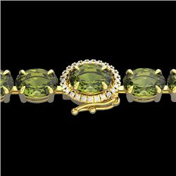 27 CTW Green Tourmaline & VS/SI Diamond Tennis Micro Halo Bracelet 14K Yellow Gold - REF-243K5W - 23