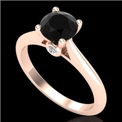 1.08 CTW Fancy Black Diamond Solitaire Engagement Art Deco Ring 18K Rose Gold - REF-58R2K - 38200