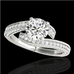 2 CTW H-SI/I Certified Diamond Bypass Solitaire Ring 10K White Gold - REF-227H3M - 35133