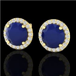 4 CTW Sapphire & Halo VS/SI Diamond Micro Pave Earrings Solitaire 18K Yellow Gold - REF-67W3H - 2150