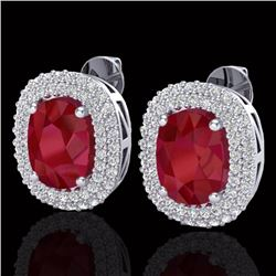 6.30 CTW Ruby & Micro Pave VS/SI Diamond Certified Halo Earrings 18K White Gold - REF-160M9F - 20124