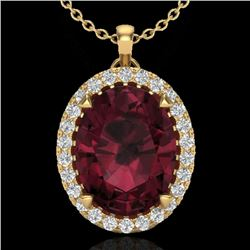 2.75 CTW Garnet & Micro VS/SI Diamond Halo Solitaire Necklace 18K Yellow Gold - REF-48X4R - 20591