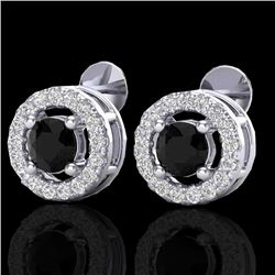 0.75 CTW Micro Pave VS/SI Diamond Certified Earrings Halo 18K White Gold - REF-44M5F - 20056