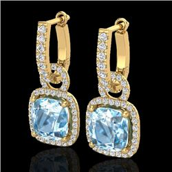 7 CTW Sky Blue Topaz & Micro Pave VS/SI Diamond Certified Earrings 18K Yellow Gold - REF-100M7F - 22