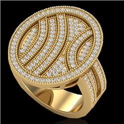 1.25 CTW Micro Pave VS/SI Diamond Certified Ring 14K Yellow Gold - REF-111M3F - 20877