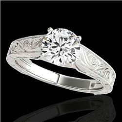 1 CTW H-SI/I Certified Diamond Solitaire Ring 10K White Gold - REF-152M7F - 35182