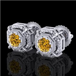 1.11 CTW Intense Fancy Yellow Diamond Art Deco Stud Earrings 18K White Gold - REF-158M2F - 37455
