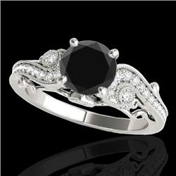 1.50 CTW Certified VS Black Diamond Solitaire Antique Ring 10K White Gold - REF-59K5W - 34804