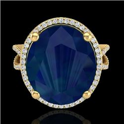 12 CTW Sapphire & Micro Pave VS/SI Diamond Certified Halo Ring 18K Yellow Gold - REF-143F6N - 20968