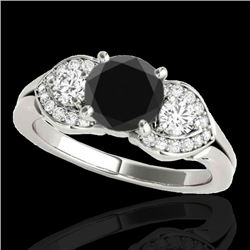 1.70 CTW Certified VS Black Diamond 3 Stone Ring 10K White Gold - REF-77H6M - 35343