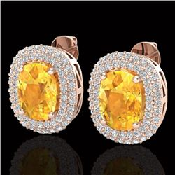 6 CTW Citrine & Micro Pave VS/SI Diamond Certified Halo Earrings 14K Rose Gold - REF-118F2N - 20117