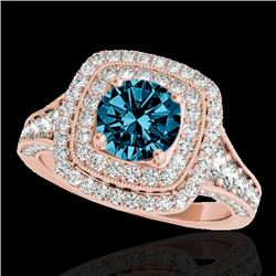 2 CTW SI Certified Blue Diamond Solitaire Halo Ring 10K Rose Gold - REF-209R3K - 33658