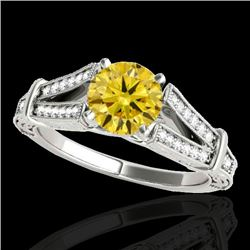 1.25 CTW Certified SI Intense Yellow Diamond Solitaire Antique Ring 10K White Gold - REF-214V5Y - 34