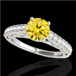 1.40 CTW Certified SI/I Fancy Intense Yellow Diamond Solitaire Ring 10K White Gold - REF-161Y8X - 35