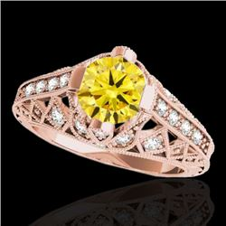 1.25 CTW Certified SI Intense Yellow Diamond Solitaire Antique Ring 10K Rose Gold - REF-167A3V - 346