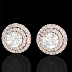 2 CTW Micro Pave VS/SI Diamond Certified Stud Earrings Double Halo 14K Rose Gold - REF-233N8A - 2146