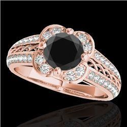 1.50 CTW Certified VS Black Diamond Solitaire Halo Ring 10K Rose Gold - REF-76F7N - 34260