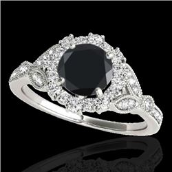 1.50 CTW Certified VS Black Diamond Solitaire Halo Ring 10K White Gold - REF-70H5M - 33763