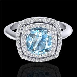 2.02 CTW Sky Blue Topaz & Micro VS/SI Diamond Certified Halo Ring 18K White Gold - REF-63F6N - 20754