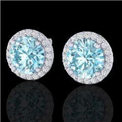 4 CTW Sky Blue Topaz & Halo VS/SI Diamond Micro Earrings Solitaire 18K White Gold - REF-65W8H - 2148