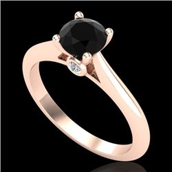 0.83 CTW Fancy Black Diamond Solitaire Engagement Art Deco Ring 18K Rose Gold - REF-69A3V - 38193