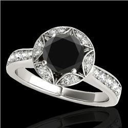 1.50 CTW Certified VS Black Diamond Solitaire Halo Ring 10K White Gold - REF-77N3A - 34232