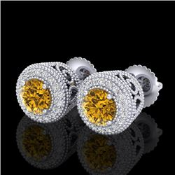 1.55 CTW Intense Fancy Yellow Diamond Art Deco Stud Earrings 18K White Gold - REF-169A3V - 37658