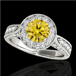 2 CTW Certified SI/I Fancy Intense Yellow Diamond Solitaire Halo Ring 10K White Gold - REF-253Y6X -