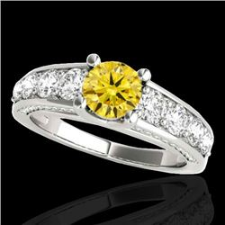 3.05 CTW Certified SI/I Fancy Intense Yellow Diamond Solitaire Ring 10K White Gold - REF-343Y6X - 35