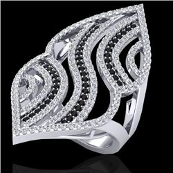 2 CTW Micro Pave Black & White VS/SI Diamond Designer Ring 14K White Gold - REF-162K5W - 20867