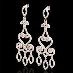 3.25 CTW VS/SI Diamond Certified Micro Pave Designer Earrings 14K Rose Gold - REF-253M6F - 22416
